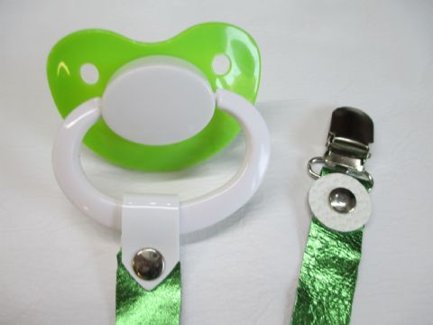 Green/white Paci with Green Metallic  Leather Paci Holder Clip Strap